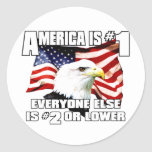 America is Number 1 Classic Round Sticker