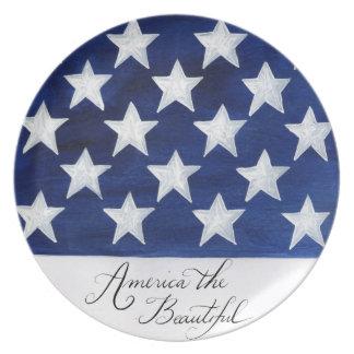 América la placa hermosa de la bandera plato
