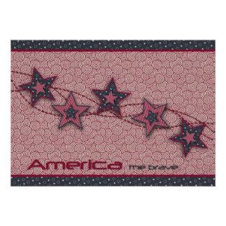 América la tarjeta valiente de la invitación