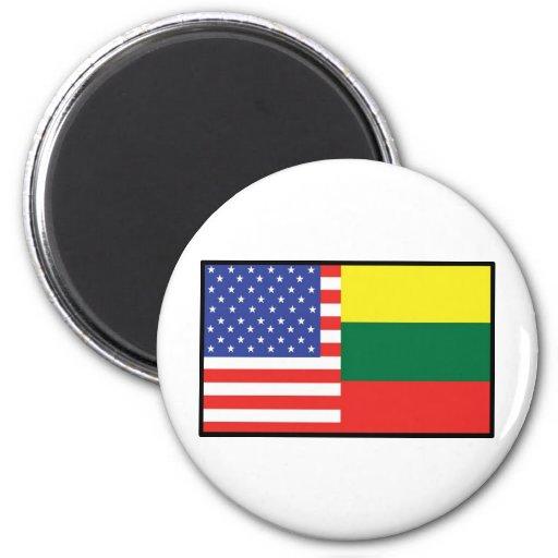 America Lithuania Fridge Magnets