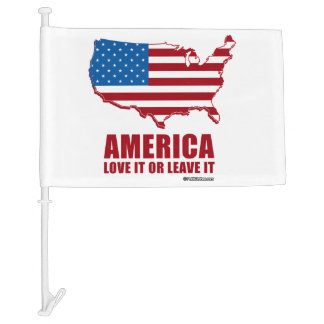 America. Love it or Leave it. Car Flag
