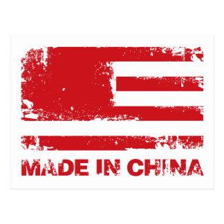 America Made in China - Red Postcard