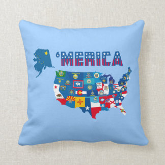 America Map & States Flags Pillow