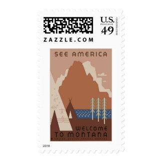 America Montana Vintage Travel Postage Stamps