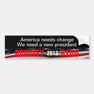 America needs change  Romney Ryan 2012 Bumper Sticker