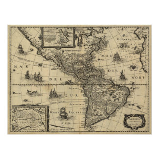 America Newly Delineated by Jodocus Hondius Poster