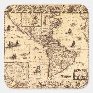 America, Noviter Delineata Map (1622) Square Sticker