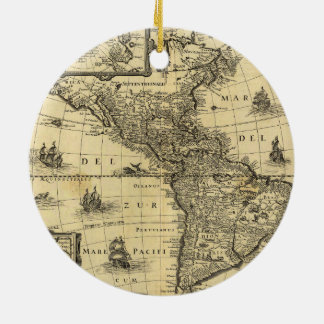 America Noviter Delineata Map (1640) Ceramic Ornament