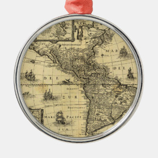America Noviter Delineata Map (1640) Metal Ornament