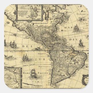 America Noviter Delineata Map (1640) Square Sticker