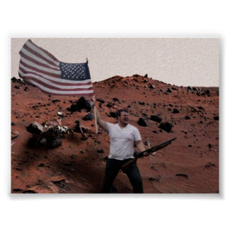 America On Mars Funny Poster