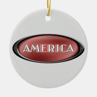 America Double-Sided Ceramic Round Christmas Ornament