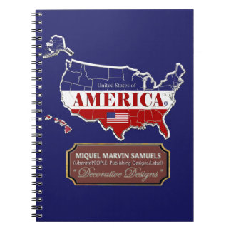 America outline Flag Colors Modern Notebook