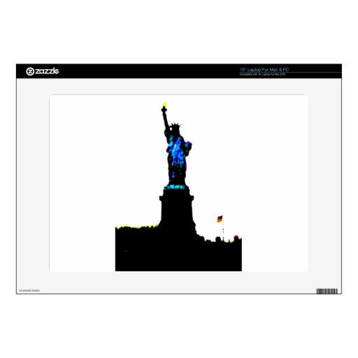 "America Patriotic Statue of Liberty American Flag 15"" Laptop Decals"