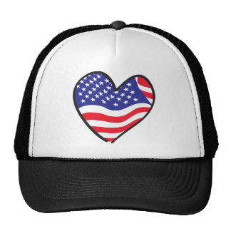 America Patriotic USA Flag Heart Hat
