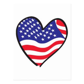 America Patriotic USA Flag Heart Postcard
