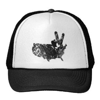 America Peace V Sign Dove, Grunge Mesh Hats