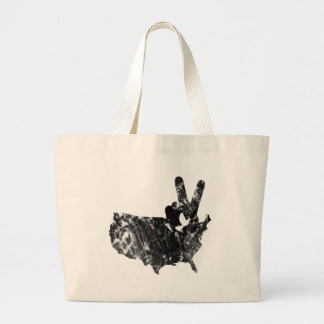 America Peace V Sign Dove, Grunge Large Tote Bag