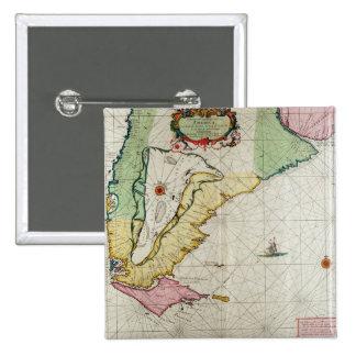America, plate 17 from 'Le Nouveau et Grand Illumi 2 Inch Square Button