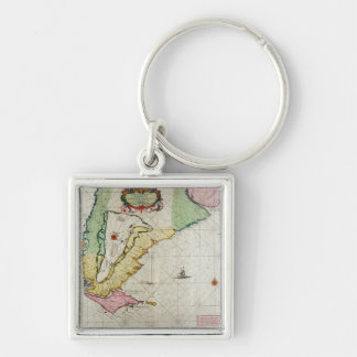 America, plate 17 from 'Le Nouveau et Grand Illumi Silver-Colored Square Keychain