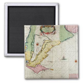 America, plate 17 from 'Le Nouveau et Grand Illumi 2 Inch Square Magnet