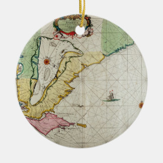 America, plate 17 from 'Le Nouveau et Grand Illumi Double-Sided Ceramic Round Christmas Ornament