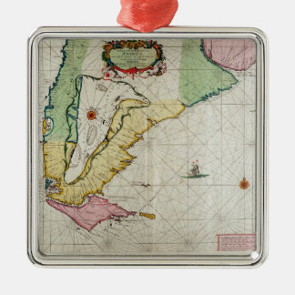 America, plate 17 from 'Le Nouveau et Grand Illumi Square Metal Christmas Ornament