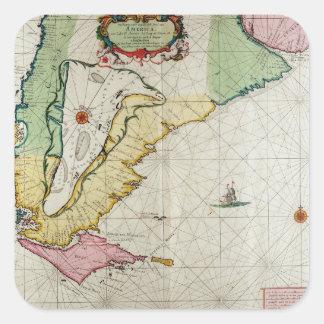 America, plate 17 from 'Le Nouveau et Grand Illumi Square Sticker