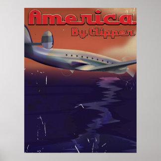 América por el poster del viaje del vintage de las