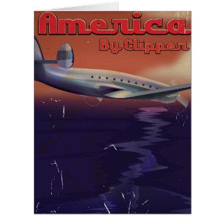 América por el poster del viaje del vintage de las tarjeta de felicitación grande
