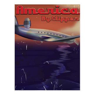 América por el poster del viaje del vintage de las tarjetas postales