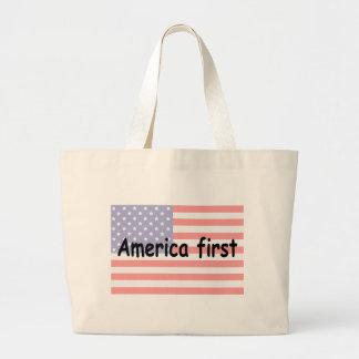 América primero bolsa de tela grande