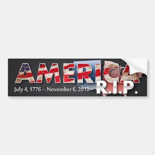 America: R.I.P. Bumper Sticker (metal grunge)