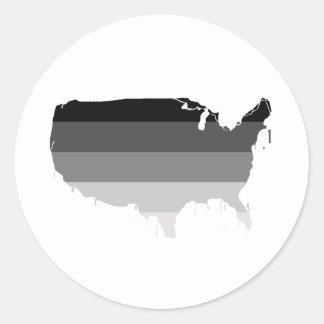 América recta pegatina redonda