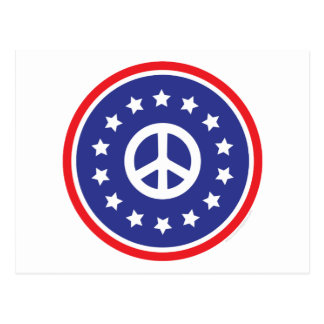 America Red, White, Blue Peace Sign Postcard