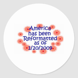 America Reformatted as of 1/20/2009 Classic Round Sticker