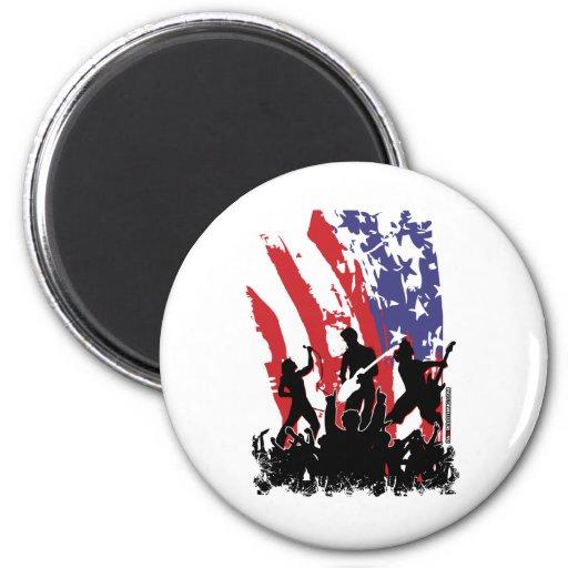 America Rocks - emo rock punk band usa flag Fridge Magnets