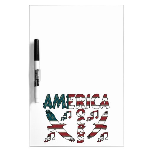 America Rocks With Eagles & Musical Notes Dry Erase Board