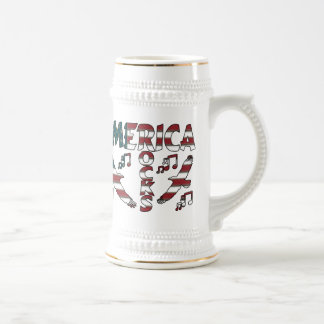 America Rocks With Eagles & Musical Notes Coffee Mugs