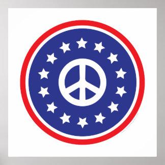 América roja, signo de la paz blanco, azul impresiones