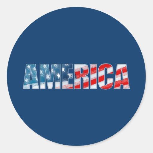 America Round Sticker