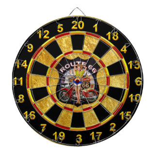 America route 66 motorcycle with a gold background dartboard