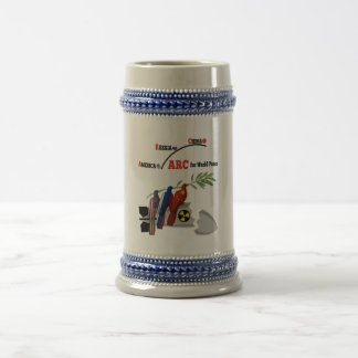 America Russia China for world peace Beer Stein