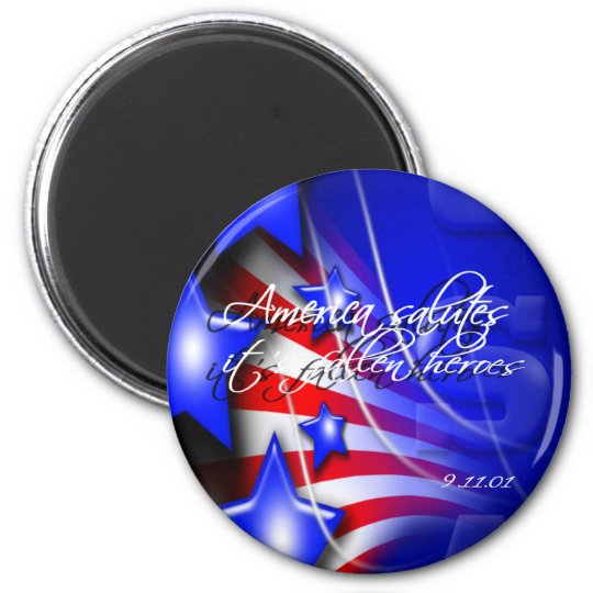 America Salutes it's Fallen Heroes 9/11 Button Magnet