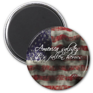America salutes it's fallen heroes 9/11 memorial   2 inch round magnet