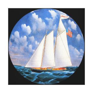 America Schooner Yacht by Bard Round Canvas Print