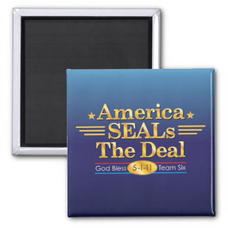America SEALs The Deal_God Bless Team Six 2 Inch Square Magnet