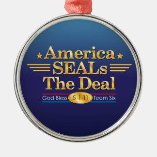 America SEALs The Deal_God Bless Team Six Metal Ornament