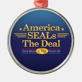 America SEALs The Deal_God Bless Team Six Round Metal Christmas Ornament