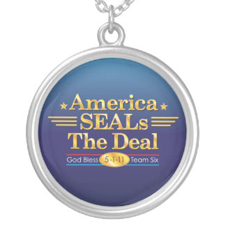 America SEALs The Deal_God Bless Team Six Round Pendant Necklace